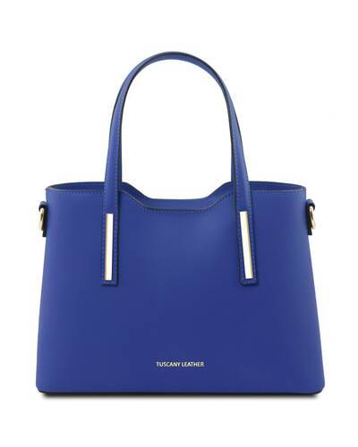 Tuscany Leather Olimpia - Leather tote - Small size Blue - TL141521/77