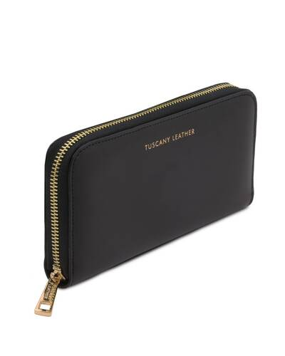 Tuscany Leather Venere - Exclusive leather accordion wallet with zip closure Black - TL142085/2