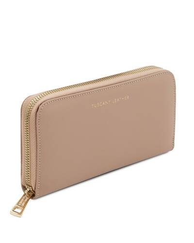 Tuscany Leather Venere - Exclusive leather accordion wallet with zip closure Champagne - TL142085/126