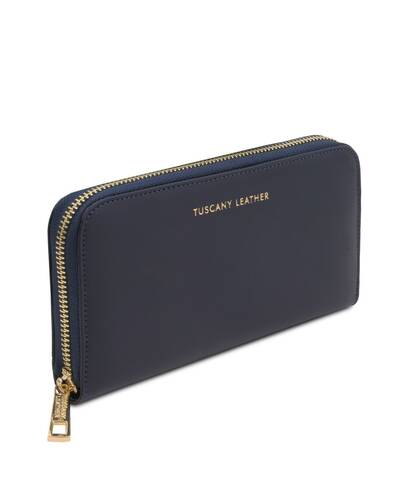Tuscany Leather Venere - Exclusive leather accordion wallet with zip closure Dark Blue - TL142085/107