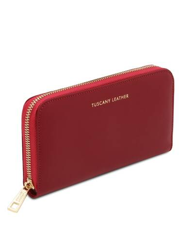 Tuscany Leather Venere - Exclusive leather accordion wallet with zip closure Red - TL142085/4