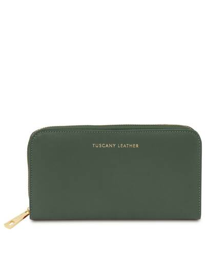 Tuscany Leather Venere - Exclusive leather accordion wallet with zip closure Forest Green - TL142085/62