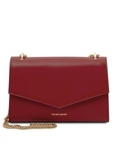 Tuscany Leather Fortuna - Pochette in pelle con tracolla a catena Rosso - TL141944/4