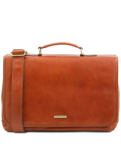 Tuscany Leather Mantova - Leather multi compartment TL SMART briefcase with flap Honey - TL142068/3