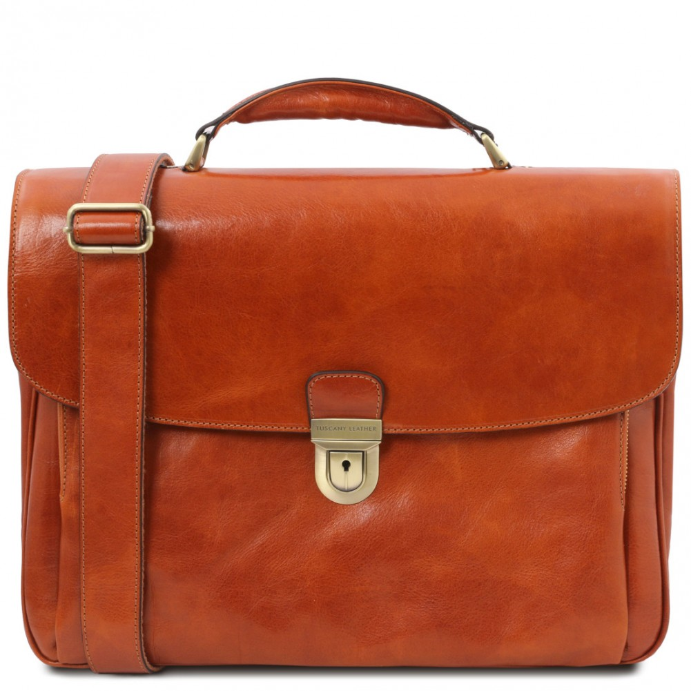 Tuscany Leather Alessandria - Cartella Porta notebook TL SMART multiscomparto in pelle Miele - TL142067/3