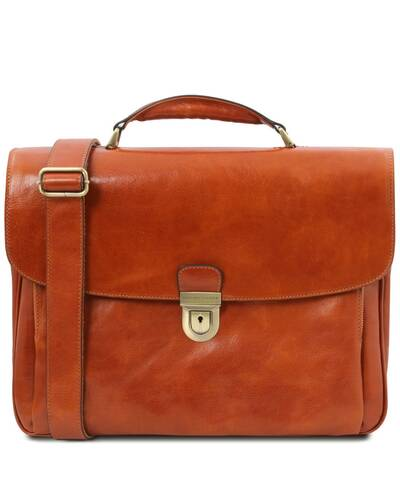 Tuscany Leather Alessandria - Leather multi compartment TL SMART laptop briefcase Honey - TL142067/3