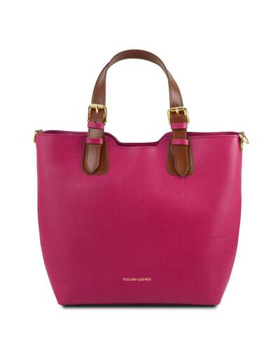 Tuscany Leather TL Bag Borsa a mano in pelle Saffiano Fucsia - TL141696/75