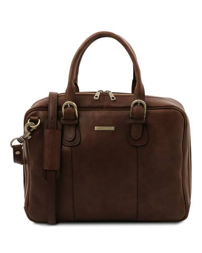 Tuscany Leather Matera - Leather multi compartment briefcase Dark Brown - TL142080/5
