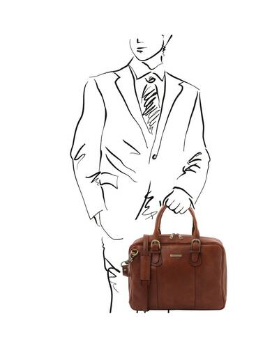 Tuscany Leather Matera - Leather multi compartment briefcase Brown - TL142080/1