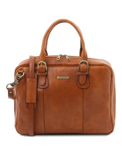 Tuscany Leather Matera - Leather multi compartment briefcase Natural - TL142080/100