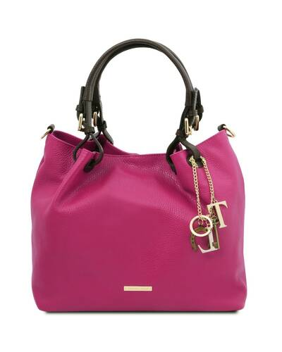 Tuscany Leather TL KeyLuck - Borsa shopping in pelle morbida Fucsia - TL141940/75