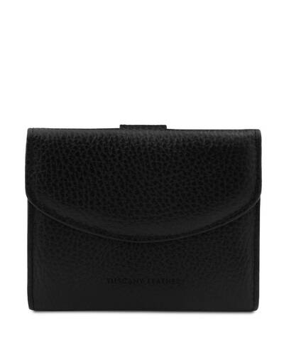 Tuscany Leather Calliope - Exclusive 3 fold leather wallet for women with coin pocket Black - TL142058/2