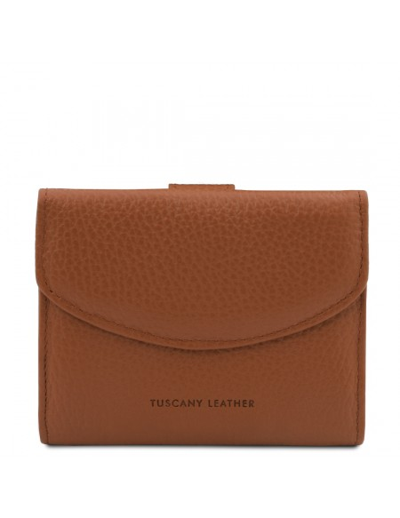 Tuscany Leather Calliope - Exclusive 3 fold leather wallet for women with coin pocket Cognac - TL142058/6