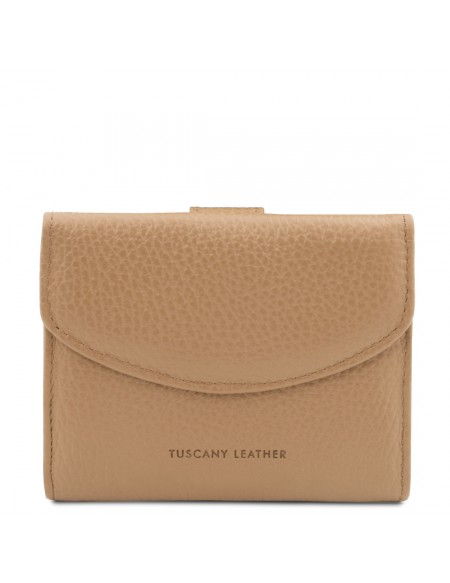Tuscany Leather Calliope - Exclusive 3 fold leather wallet for women with coin pocket Champagne - TL142058/126