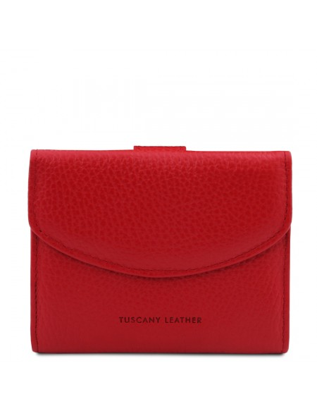 Tuscany Leather Calliope - Exclusive 3 fold leather wallet for women with coin pocket Lipstick Red - TL142058/120