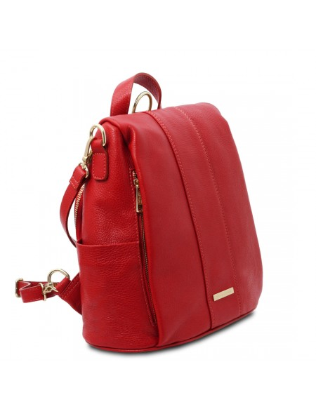 Tuscany Leather TL Bag - Soft leather backpack Lipstick Red - TL142138/120