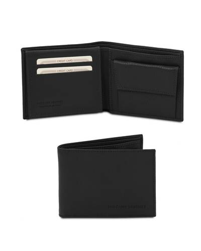 Tuscany Leather - Exclusive soft 3 fold leather wallet for men with coin pocket Black - TL142074/2