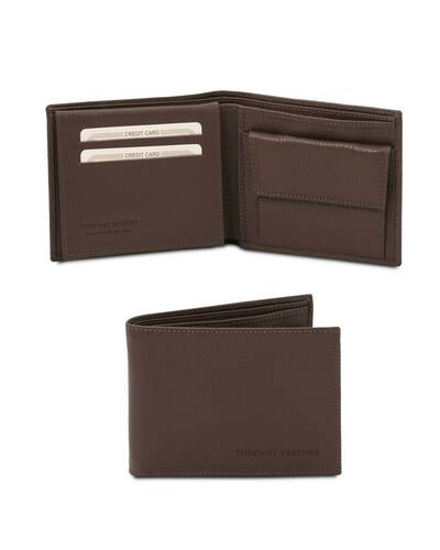 Tuscany Leather - Exclusive soft 3 fold leather wallet for men with coin pocket Dark Brown - TL142074/5