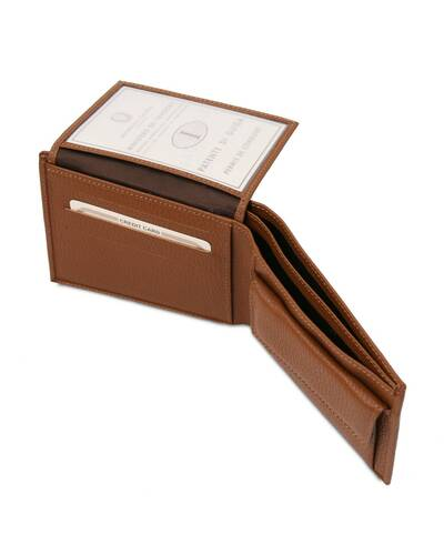 Tuscany Leather - Exclusive soft 3 fold leather wallet for men with coin pocket Cognac - TL142074/6