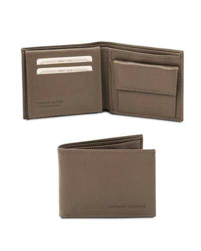 Tuscany Leather - Exclusive soft 3 fold leather wallet for men with coin pocket Dark Taupe - TL142074/97