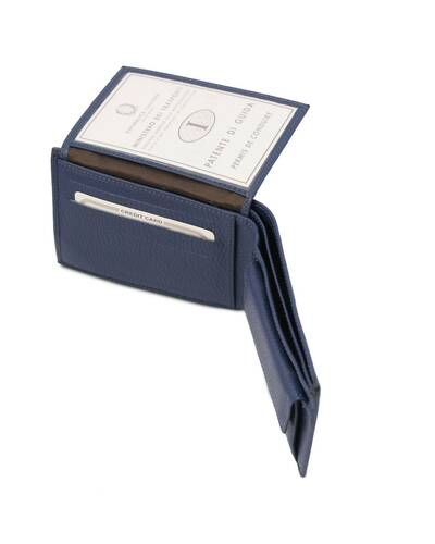 Tuscany Leather - Exclusive soft 3 fold leather wallet for men with coin pocket Dark Blue - TL142074/107