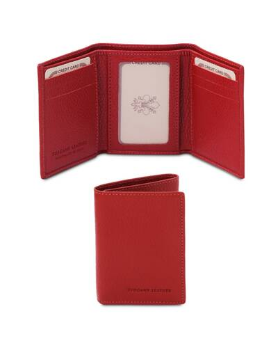 Tuscany Leather - Exclusive soft 3 fold leather wallet Lipstick Red - TL142086/120