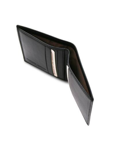 Tuscany Leather - Exclusive 2 fold leather wallet for men Black - TL142064/2