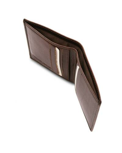 Tuscany Leather - Exclusive 2 fold leather wallet for men Dark Brown - TL142064/5