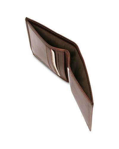 Tuscany Leather - Exclusive 2 fold leather wallet for men Brown - TL142064/1