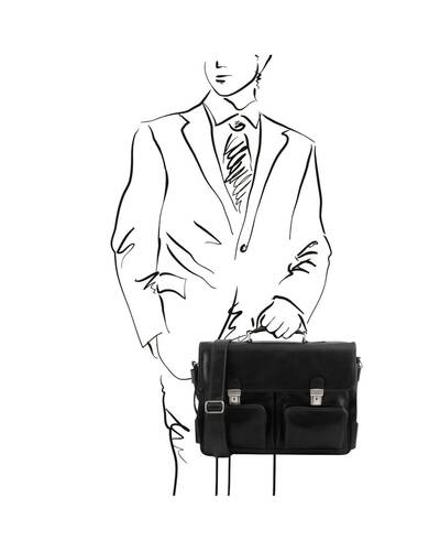 Tuscany Leather Ventimiglia - Leather multi compartment TL SMART briefcase with front pockets Black - TL142069/2