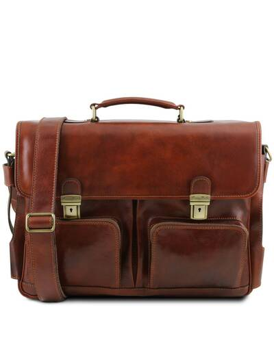 Tuscany Leather Ventimiglia - Leather multi compartment TL SMART briefcase with front pockets Brown - TL142069/1