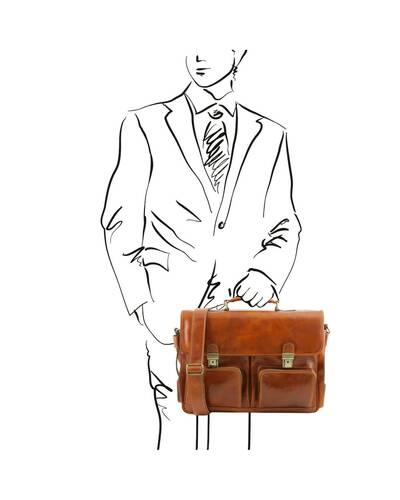 Tuscany Leather Ventimiglia - Leather multi compartment TL SMART briefcase with front pockets Honey - TL142069/3