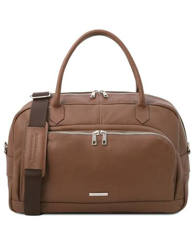 Tuscany Leather TL Voyager - Travel soft leather duffle bag Dark Taupe - TL142148/97