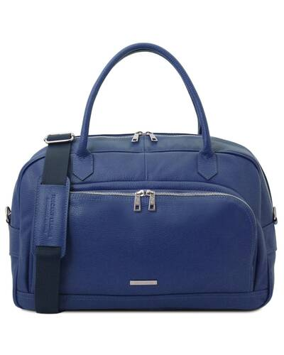 Tuscany Leather TL Voyager - Travel soft leather duffle bag Dark Blue - TL142148/107