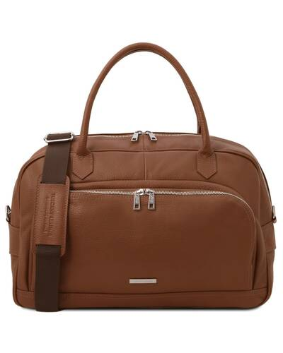 Tuscany Leather TL Voyager - Travel soft leather duffle bag Cognac - TL142148/6