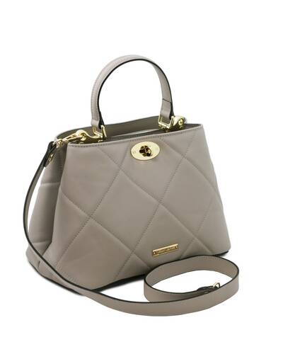 Tuscany Leather TL Bag - Soft quilted leather handbag Grey - TL142132/114