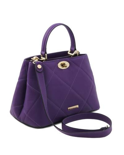 Tuscany Leather TL Bag - Soft quilted leather handbag Purple - TL142132/59