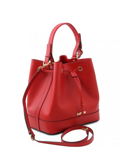 Tuscany Leather Minerva - Leather bucket bag Lipstick Red - TL142145/120