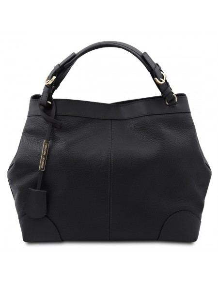 Tuscany Leather Ambrosia - Soft leather shopping bag with shoulder strap Black - TL142143/2