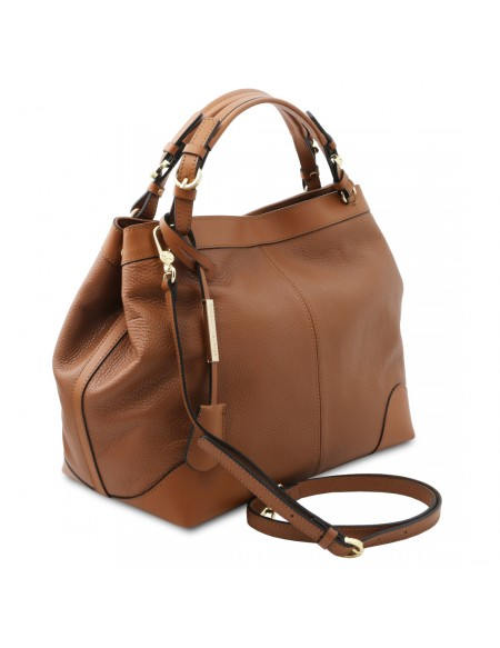 Tuscany Leather Ambrosia - Soft leather shopping bag with shoulder strap Cognac - TL142143/6