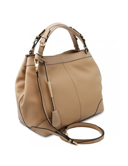 Tuscany Leather Ambrosia - Soft leather shopping bag with shoulder strap Champagne - TL142143/126