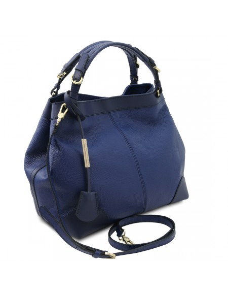 Tuscany Leather Ambrosia - Soft leather shopping bag with shoulder strap Dark Blue - TL142143/107