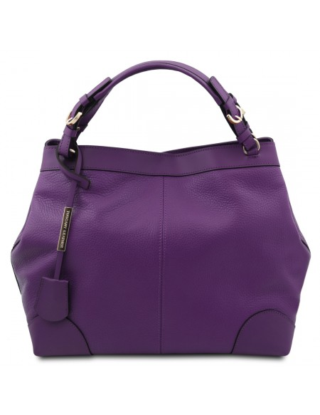 Tuscany Leather Ambrosia - Soft leather shopping bag with shoulder strap Purple - TL142143/59