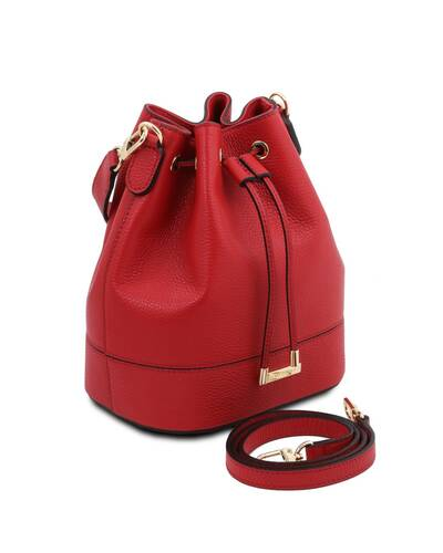 Tuscany Leather TLBag - Leather bucket bag Lipstick Red - TL142146/120
