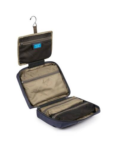 Piquadro Brief 2 Hanging toiletry bag in recycled fabric, Navy Blue - BY3058BR2/BLU