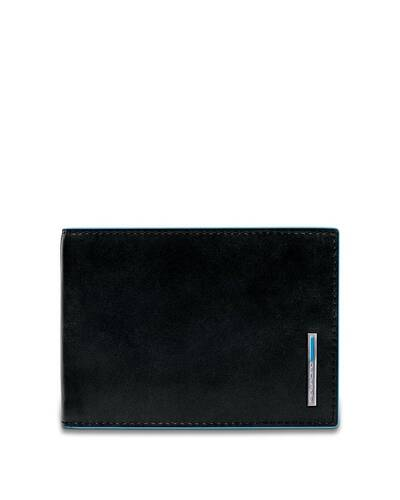 Piquadro Blue Square Men's wallet with flip up ID window and coin pocket, Black - PU1392B2R/N