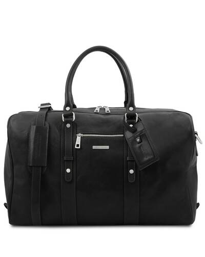Tuscany Leather TL Voyager - Leather travel bag with front pocket Black - TL142140/2