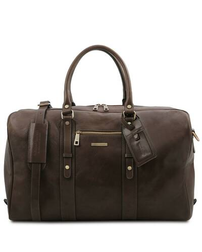 Tuscany Leather TL Voyager - Leather travel bag with front pocket Dark Brown - TL142140/5