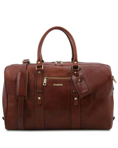 Tuscany Leather TL Voyager - Leather travel bag with front pocket Brown - TL142140/1