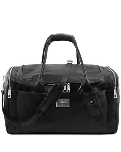 Tuscany Leather TL Voyager - Travel leather bag with side pockets - Large size, Black - TL142135/2